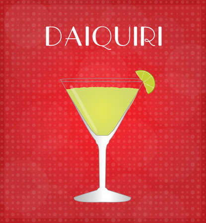 daiquiri: Drinks List Daiquiri with Red Background  Illustration
