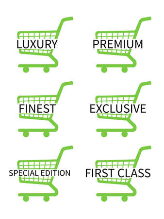 costumer: Green Shopping Cart Icons with Luxury Articles Texts Illustration