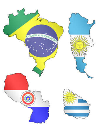 South America Maps with Flags  Vector
