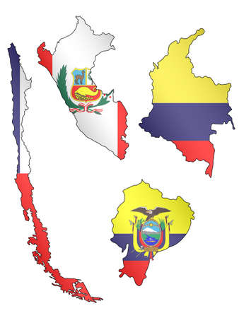 compatriot: South America Maps with Flags 2 EPS 10 Illustration