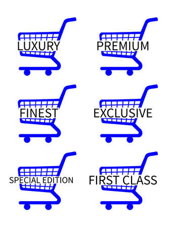 Blue Shopping Cart Icons with Luxury Articles Texts Vector