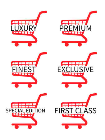 costumer: Red Shopping Cart Icons with Luxury Articles Texts