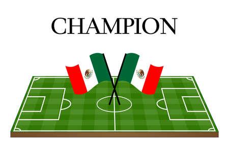 mexican flag: Football Champion Campo con Bandiera del Messico