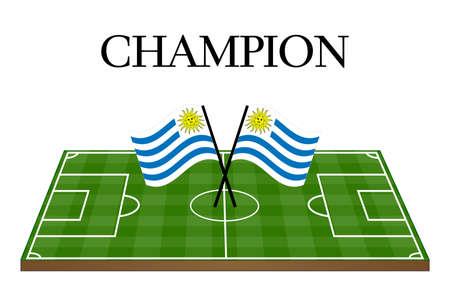 Football Champion Field with Uruguayan Flag Stock Vector - 28598830