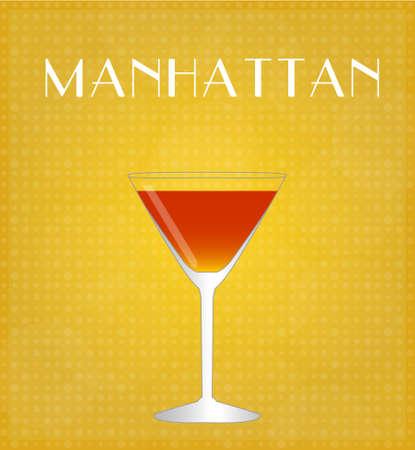 sweet vermouth: Drinks List Manhattan with Golden Background Illustration