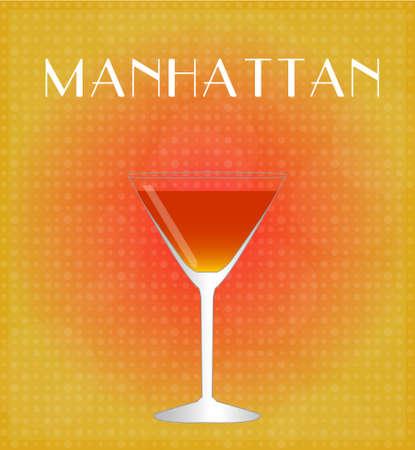 bourbon whisky: Drinks List Manhattan with Red Golden Background