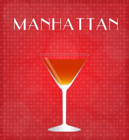 bourbon whisky: Drinks List Manhattan with Red Background Illustration