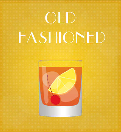 old fashioned: Drinks List Old Fashioned with Golden Background Illustration