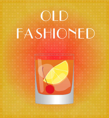 old fashioned: Drinks List Old Fashioned with Red   Golden Background EPS10