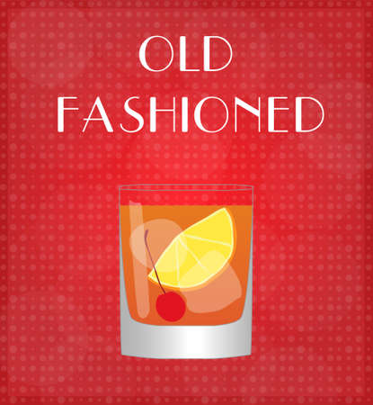 old fashioned: Drinks List Old Fashioned with Red Background EPS10 Illustration