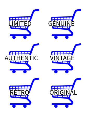 first rate: Blue Shopping Cart Icons with Vintage Texts Illustration