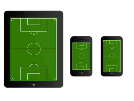 Mobile Devices with Football Field Black Vector