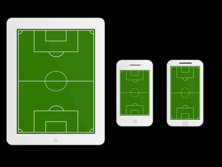 Mobile Devices with Football Field White Vector