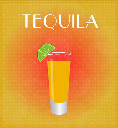date night: Drinks List Tequila with Red   Golden Background EPS10