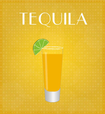 date night: Drinks List Tequila with Golden Background  Illustration