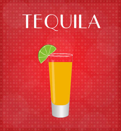 date night: Drinks List Tequila with Red Background