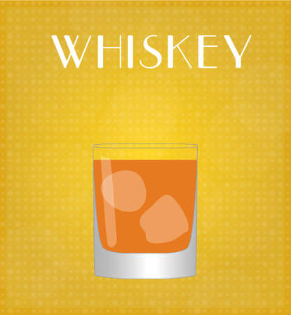 bourbon whisky: Drinks List Whiskey with Golden Background  Illustration