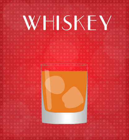 bourbon whisky: Drinks List Whiskey with Red Background  Illustration