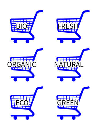 Blue Shopping Cart Icons with Bio Texts