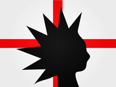dissident: Punk Silhouette over the English Flag Illustration