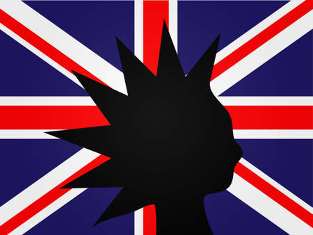 english culture: Punk Silhouette over the United Kingdom Flag