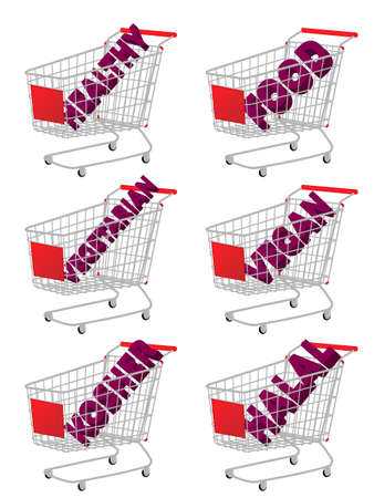 Red 3D Shopping Cart with Healthy Food Texts Vector