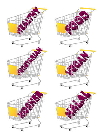 Yellow 3D Shopping Cart with Healthy Food Texts Vector