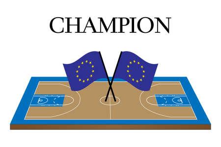 유럽의: 유럽 연합 국기와 함께 농구 챔피언 법원 일러스트