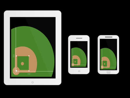 baseball diamond: Mobile Devices with Football Field White