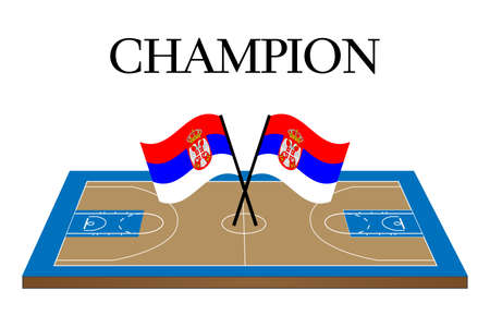 serbia flag: Basketball Champion Court with Serbia Flag