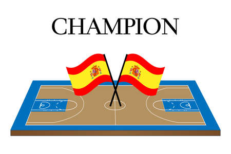 champion of spain: Basketball Champion Court with Spain Flag Illustration