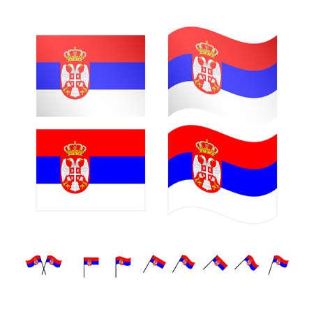 serbia: Serbia Flags Illustration
