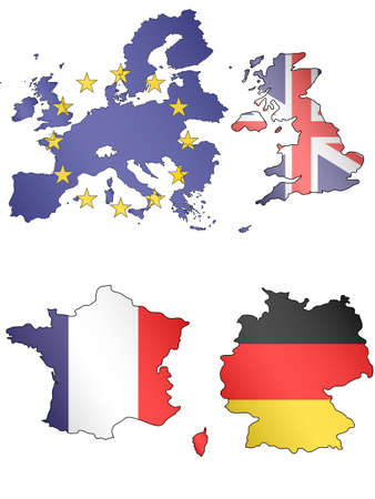 compatriot: Europe Maps with United kingdom, france, germany Flags Illustration