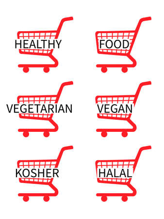 Red Shopping Cart Icons with Healthy Food Texts Иллюстрация