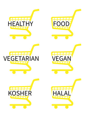 Yellow Shopping Cart Icons with Healthy Food Texts Vector