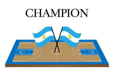 argentinian flag: Basketball Champion Court with Argentinian Flag Illustration