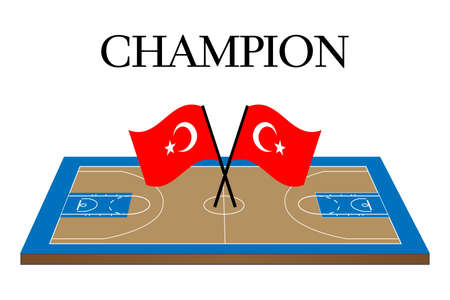 Basketball Champion Court with Turkish Flag Illustration