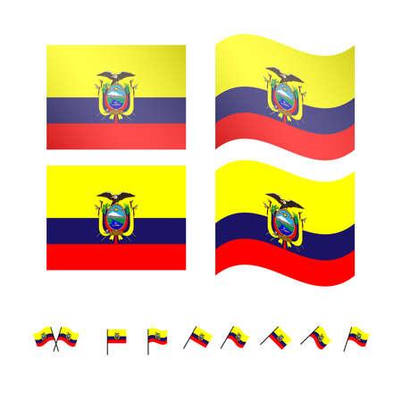 South America Flags Peru Chile Colombia Ecuador With Coats Of - Ecuador flags