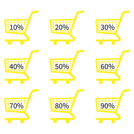 Yellow Shopping Cart Icons with Discount Tags Vector