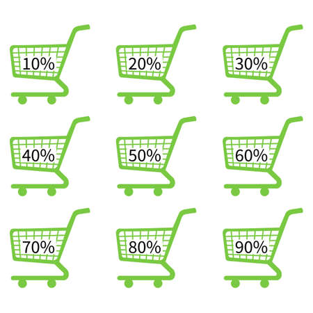 Green Shopping Cart Icons with Discount Tags Vector