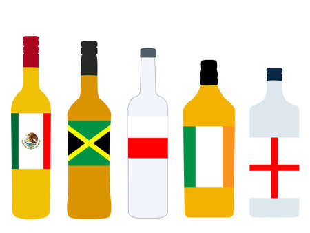 version: Different Kinds of Spirits Bottles with Flags version 2