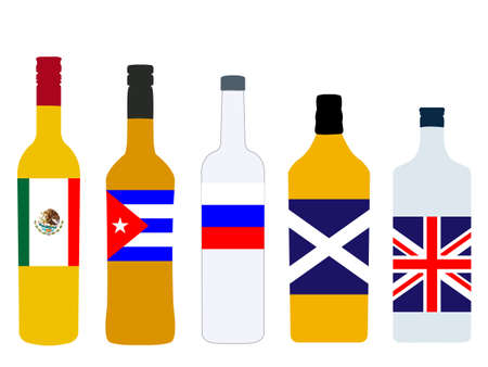 highball: Different Kinds of Spirits Bottles with Flags version 1 Illustration
