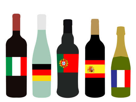 Wines of Europe Bottles with Flags Vector