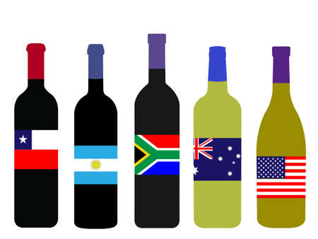 world flags: Wines of the World Bottles with Flags