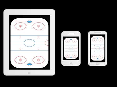 hockey rink: Dispositivos m�viles con Hockey de Hielo Blanco