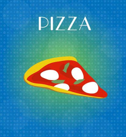 craving: Menu Food Pizza con fondo azul de oro Vectores