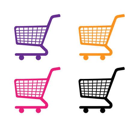 Shopping Cart Icons in Purple Orange Pink Black Illustration