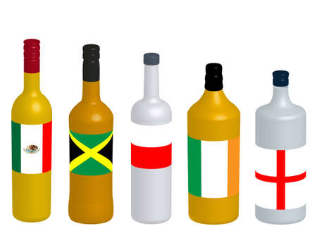 distilled: Different Kinds of Spirits Bottles with Flags 3D version 2 Illustration