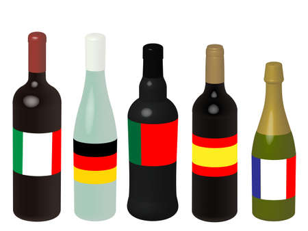 Wines of Europe Bottles with Flags 3D Illustration