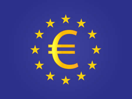 deregulation: Euro Currency Sign on the center of the European Union Flag